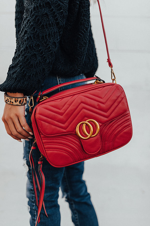 Bryant Park Views Quilted Crossbody In Red