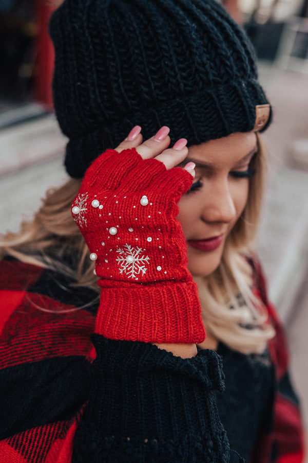 Christmas Cocoa Gloves In Red