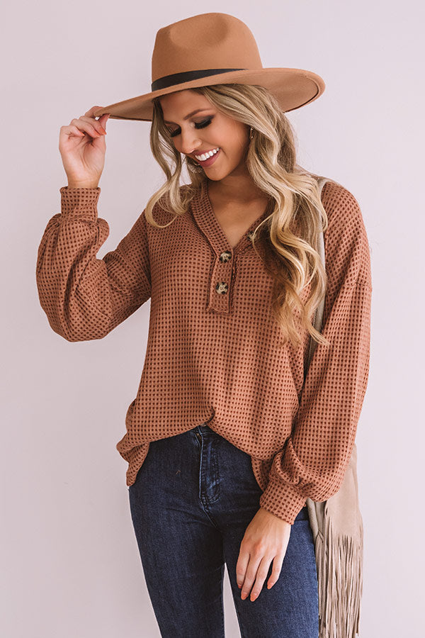 Kiss Me Softly Waffle Knit Top in Cinnamon