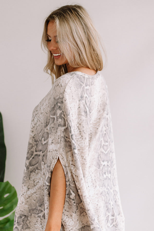 Got My Attention Snake Print Poncho Top