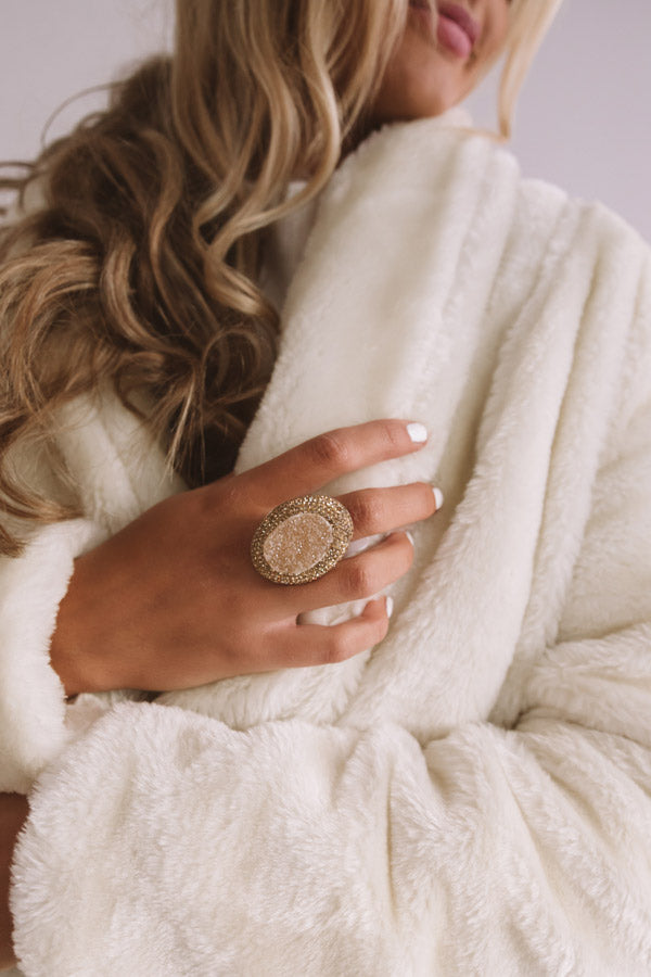 Glistening And Gorgeous Druzy Ring In Champagne