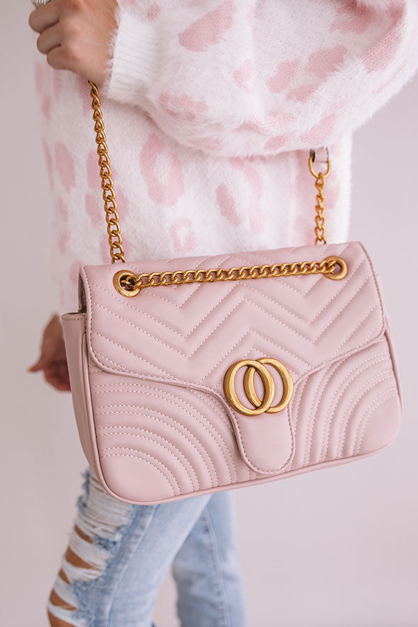 City Sleek Quilted Crossbody in Blush