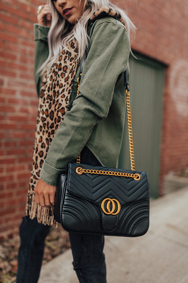 City Sleek Quilted Crossbody in Black