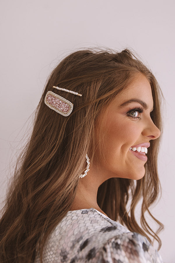 Pretty And Poised Rhinestone Hair Clip Set in Pink