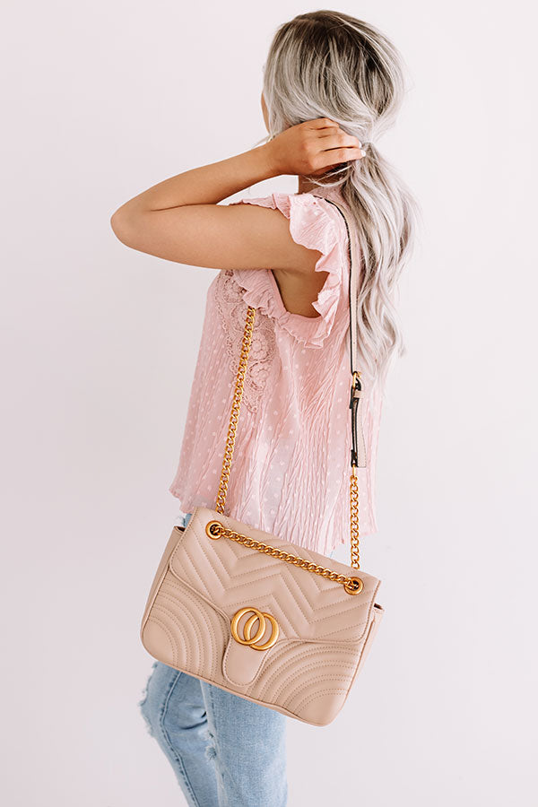 City Sleek Quilted Crossbody in Iced latte