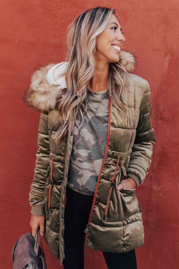 Fresh Snowfall Faux Fur Lined Coat In Olive