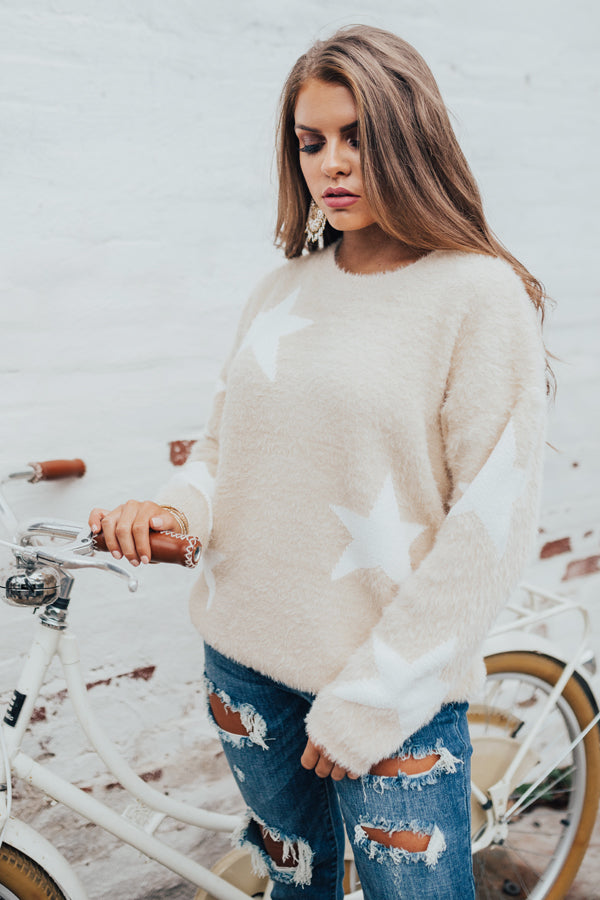 Stargazer Ultra Soft Knit Sweater in Beige