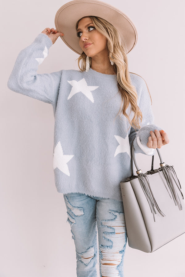 Stargazer Ultra Soft Knit Sweater in Airy Blue