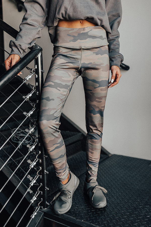 Espresso Run High Waist Camo Active Legging