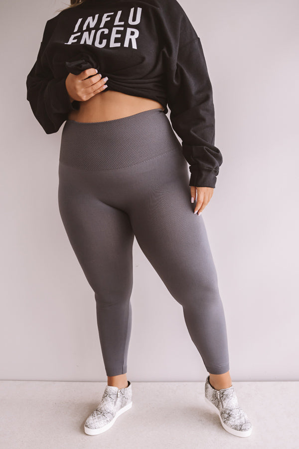 In My Element High Waist Fleece Legging In Charcoal