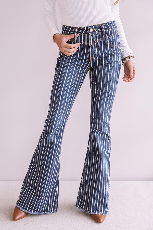 The Jacqueline Midrise Stripe Flare