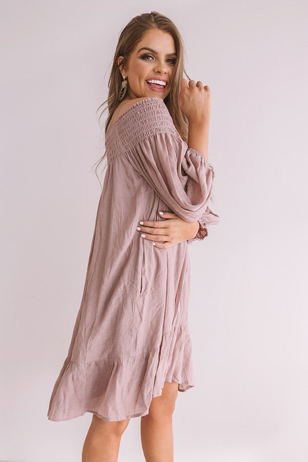 West Village Off Shoulder Dress In Dusty Purple