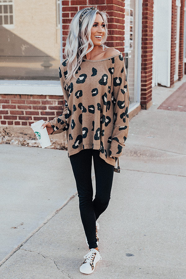City Skyscrapers Leopard Sweater Top