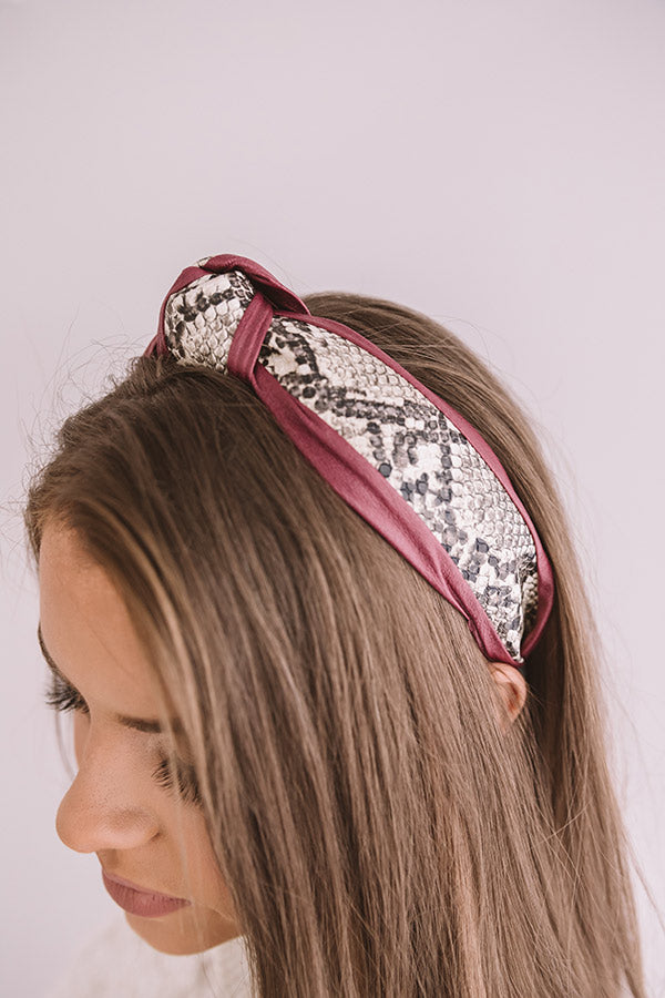 The Lulu Snake Print Headband In Windsor Wine