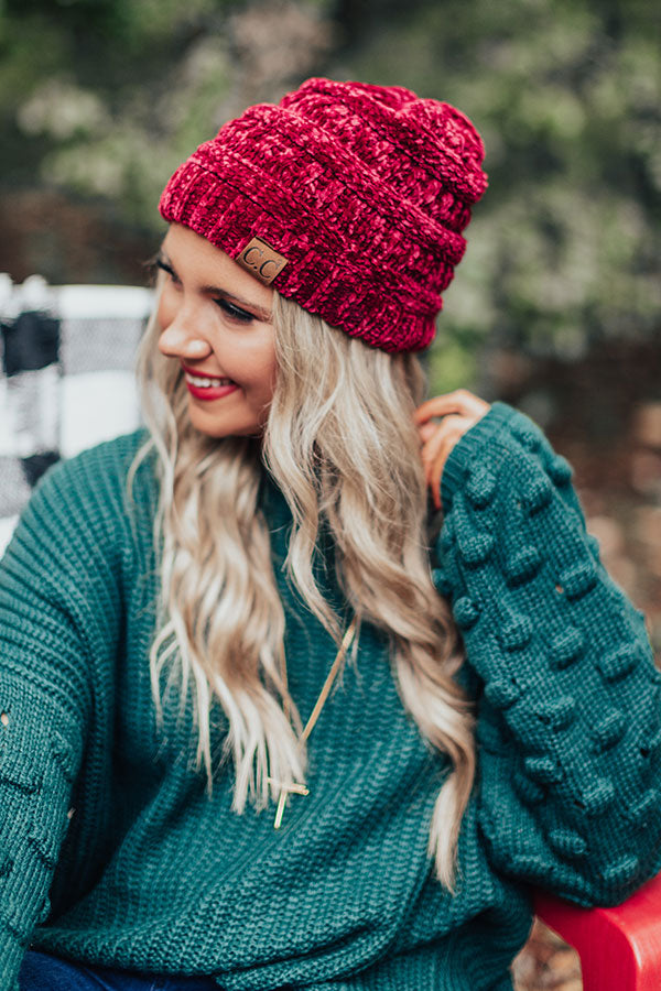 Northern Lights Chenille Beanie in Wine