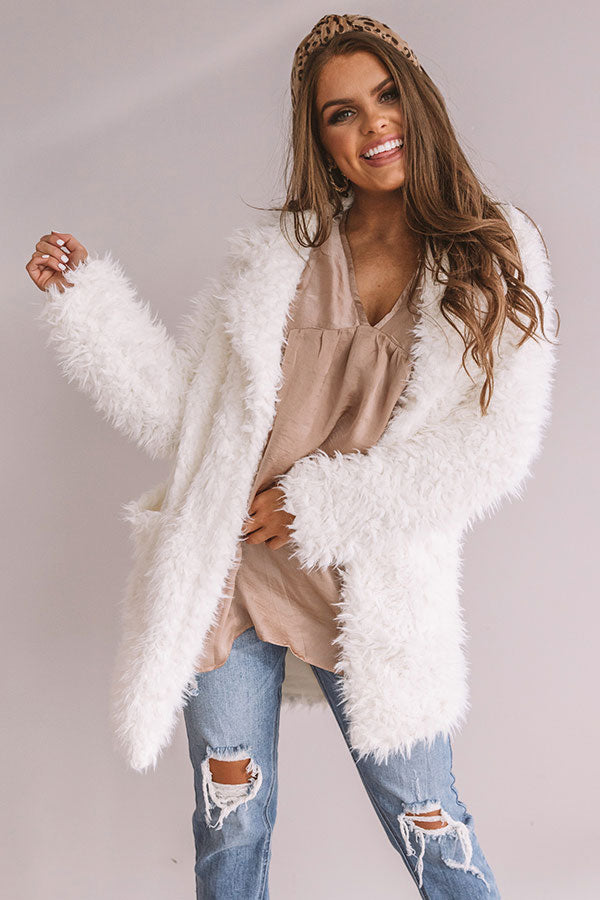 Manhattan Chic Teddy Coat in Ivory