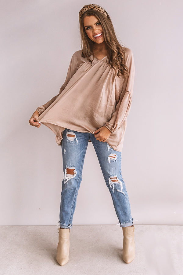 Chic On Speed Dial Satin Shift Top in Iced Latte