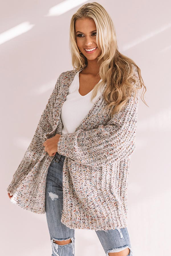 Snow Adorable Confetti Knit Cardigan In Grey