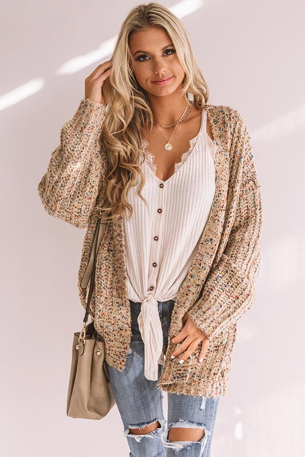 Snow Adorable Confetti Knit Cardigan In Mocha