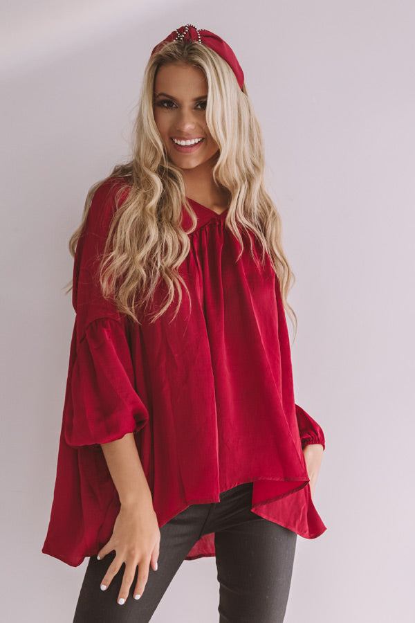 Chic On Speed Dial Satin Shift Top in Wine