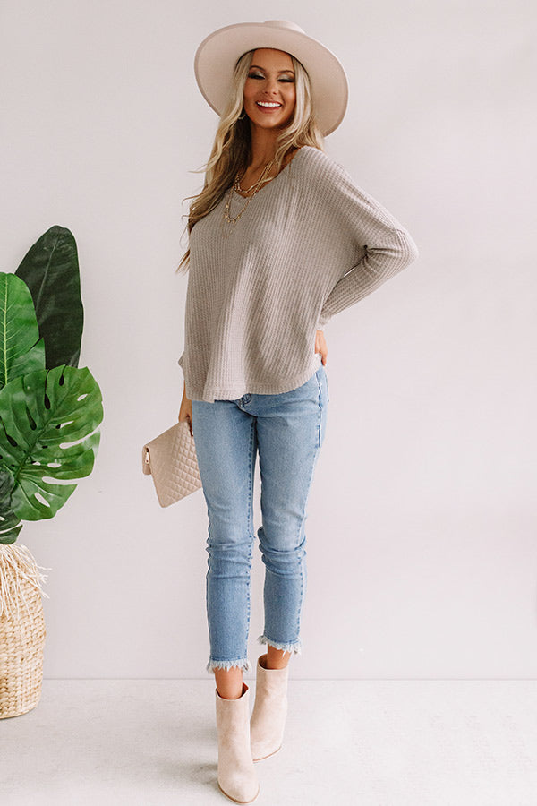 Your Dream Girl Waffle Knit Shift Top in Grey