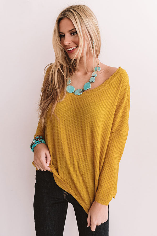 Your Dream Girl Waffle Knit Shift Top in Mustard