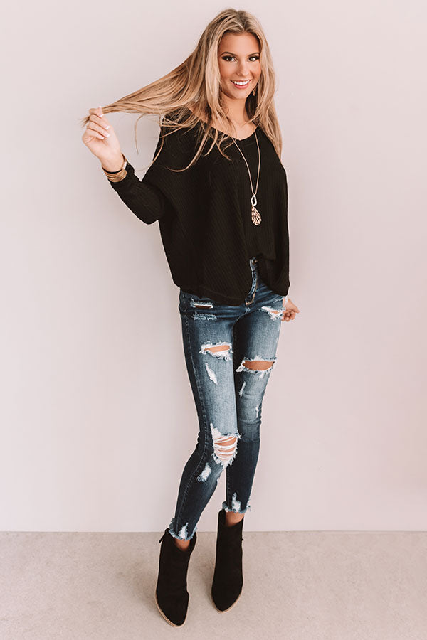 Your Dream Girl Waffle Knit Shift Top in Black