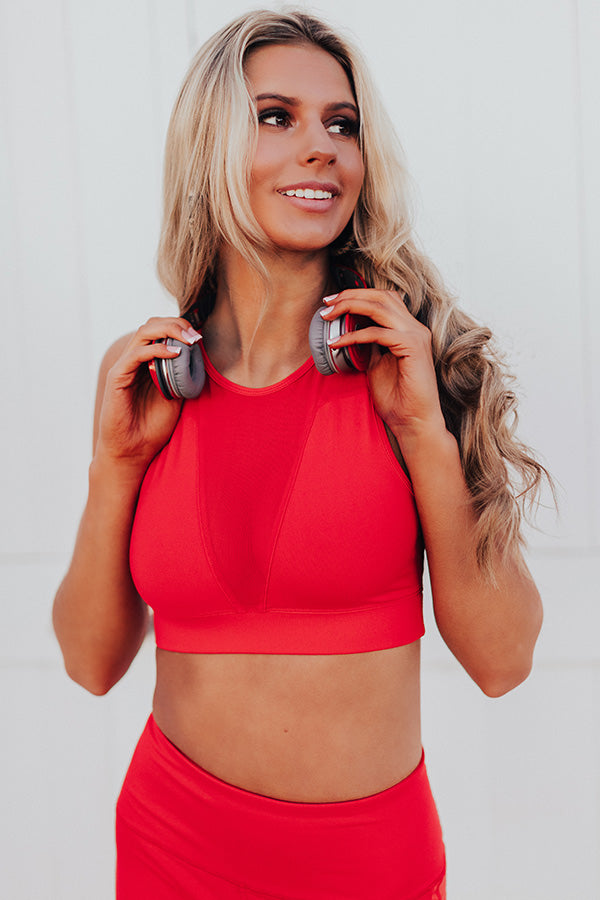 Yoga And Chill Mesh Cutout Sports Bra in Red