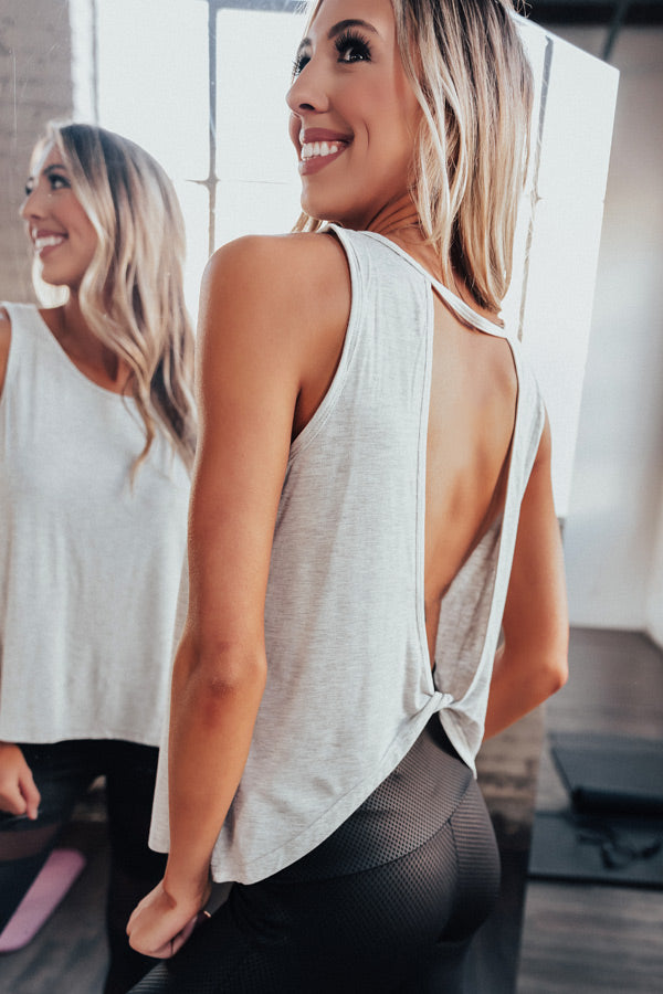 Making Moves Open Back Shift Tank in Grey