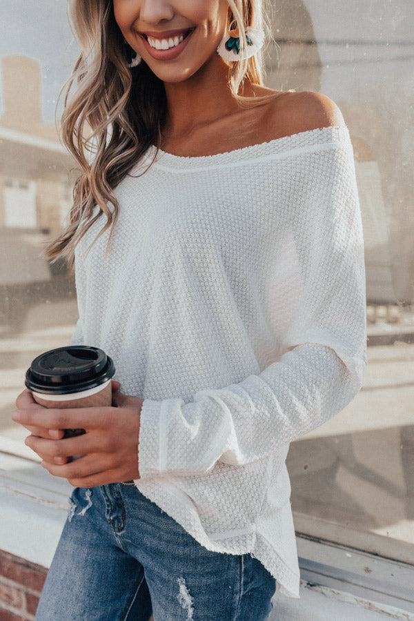 Your Dream Girl Waffle Knit Shift Top in White