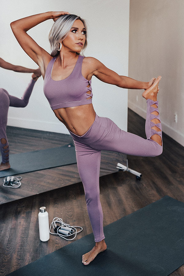 Pilates Then Prosecco High Waist Active Legging in Dusty Purple
