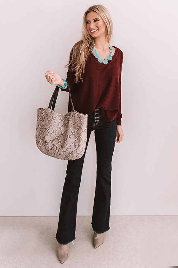 Your Dream Girl Waffle Knit Shift Top in Windsor Wine