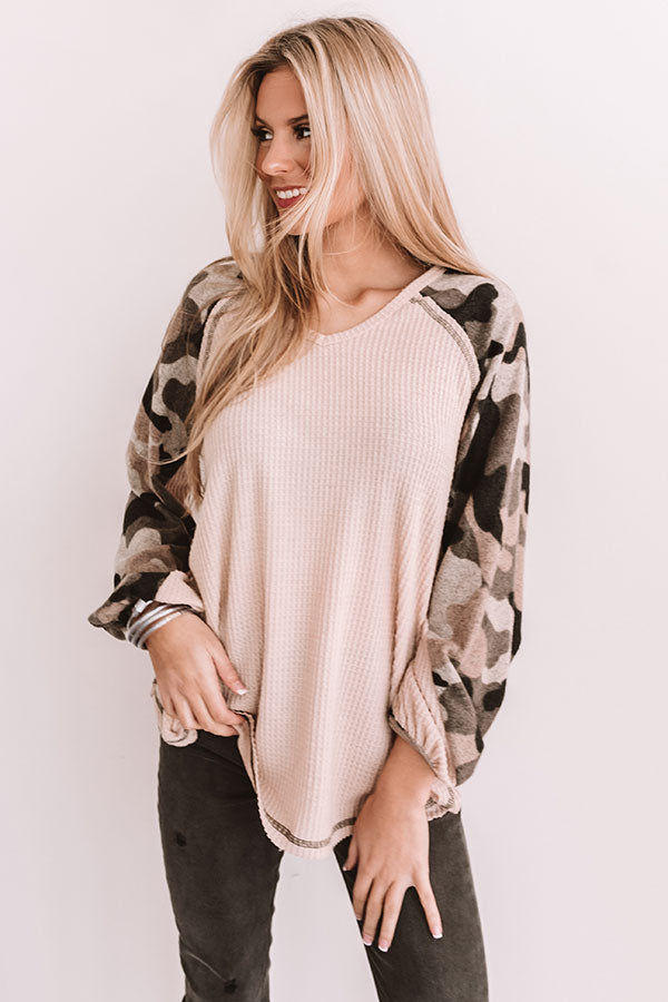 Cheers To Camo Waffle Knit Top
