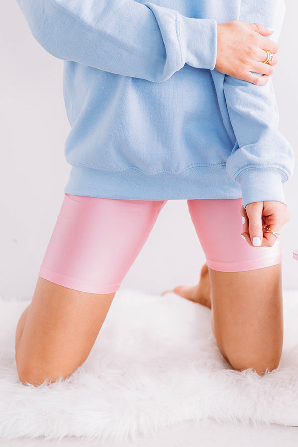 Think Happy Thoughts High Waist Bike Shorts in Pink