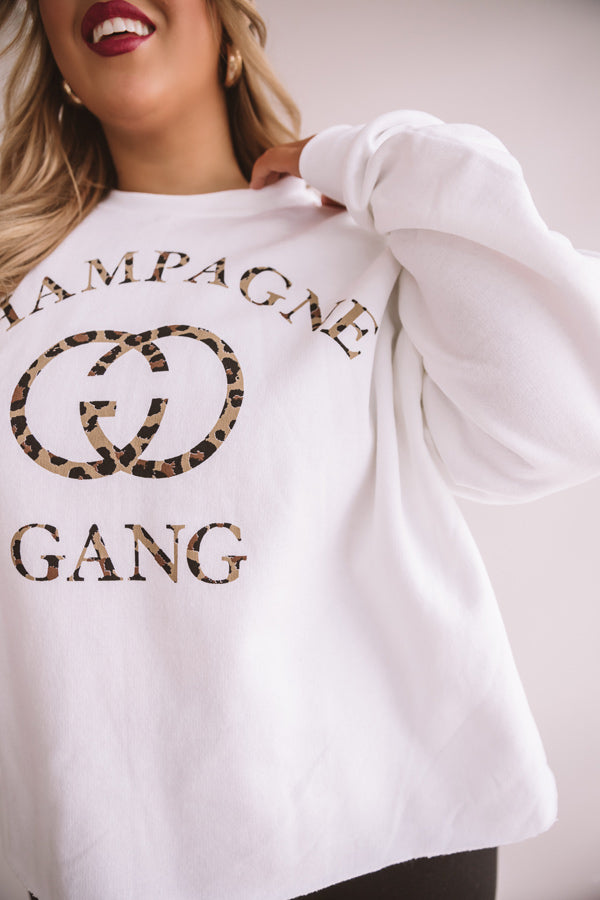 Champagne Gang Crop Sweatshirt