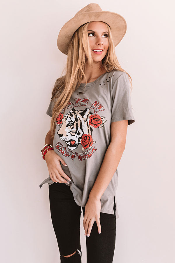 Take It Easy Distressed Boyfriend Tee
