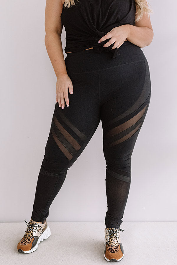 Yoga And Chill High Waist Mesh Active Legging in Black