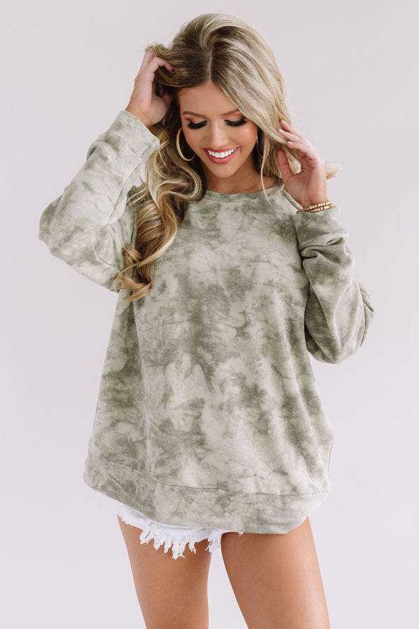 Happiness In Sight Tie Dye Sweatshirt In Pear