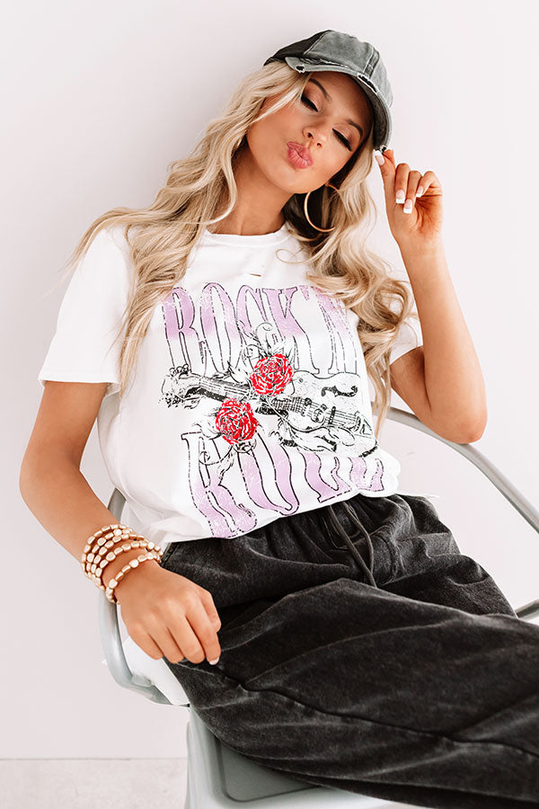 Rock And Roll Distressed Boyfriend Tee In White