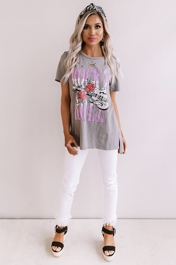 Rock And Roll Distressed Boyfriend Tee In Grey