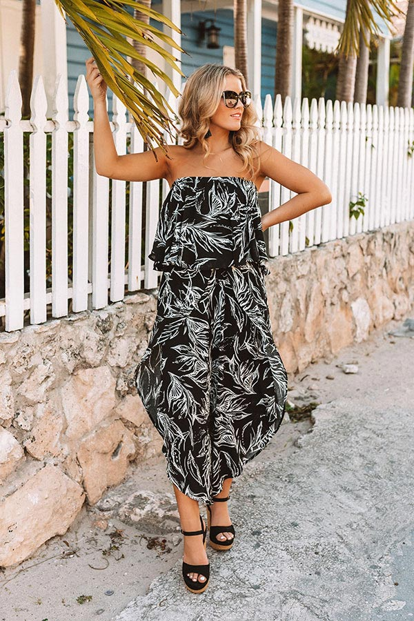 Palms In Paradise Jumpsuit in Black