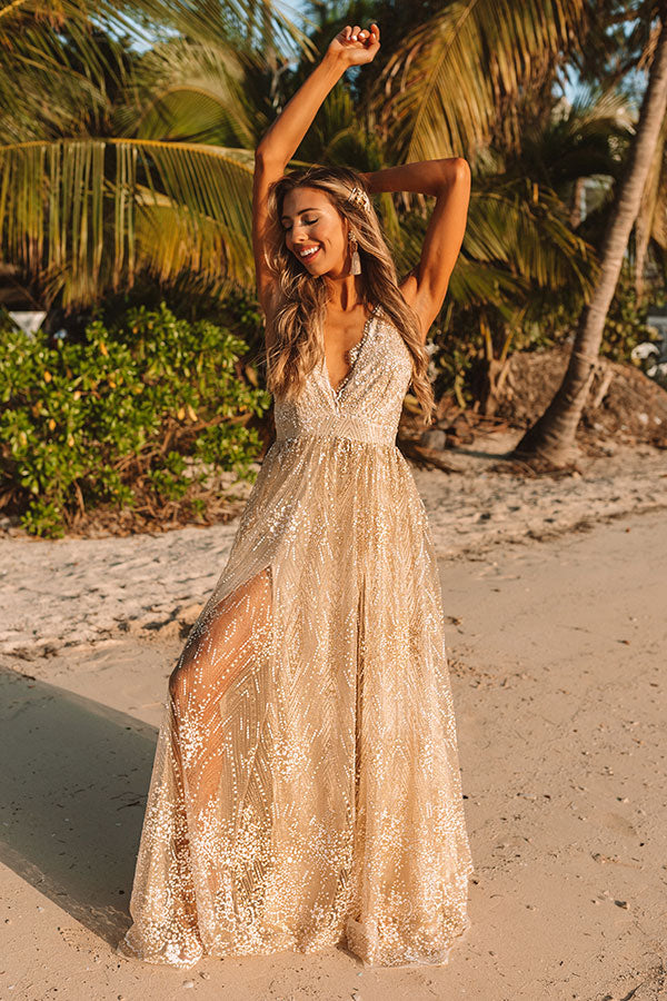 Glistening And Gorgeous Glitter Sequin Maxi Dress