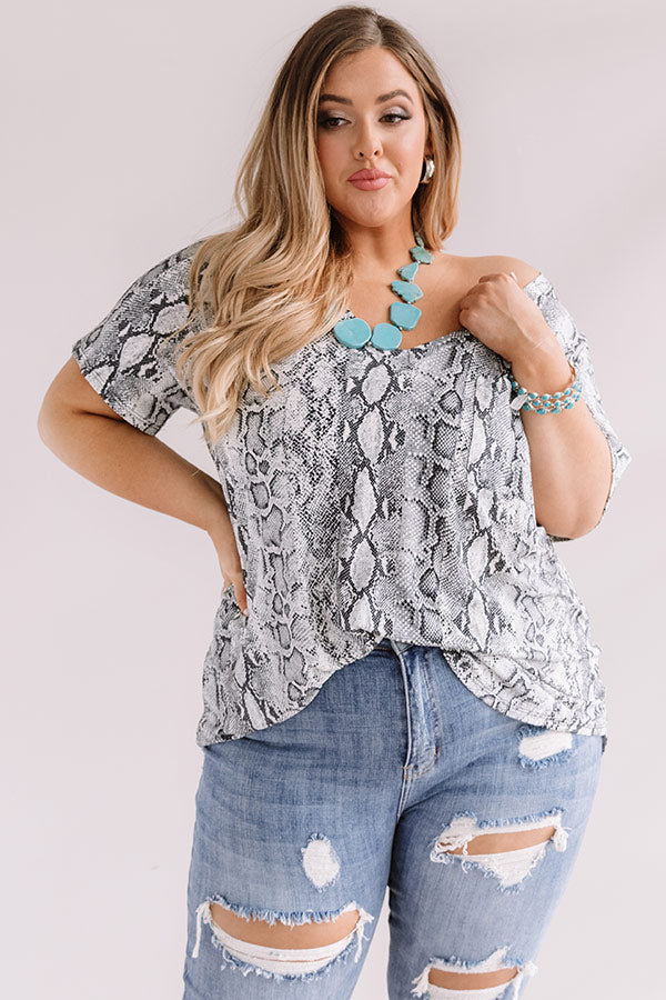 Limelight Lifestyle Snake Print Shift Top In Grey