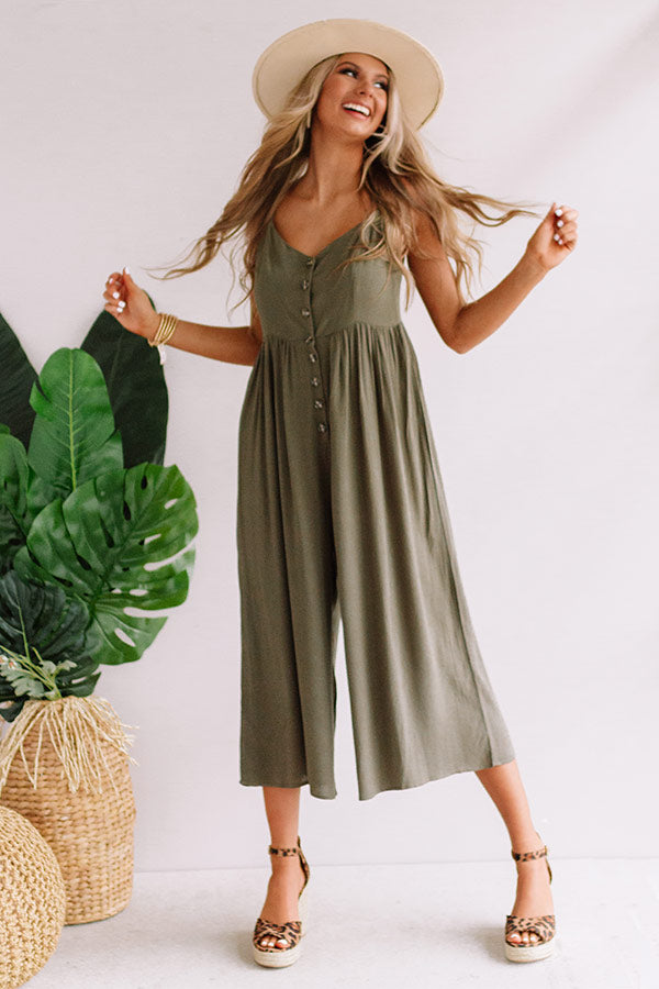 Styled For Paradise Jumpsuit In Army Green