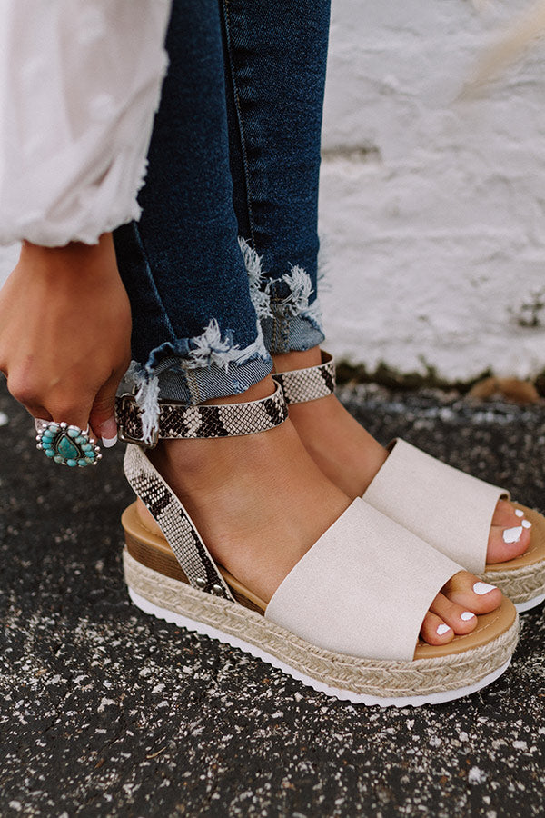 The Brighton Canvas Espadrille In Snake Print