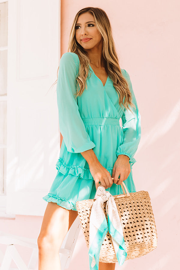 Sway In Style Ruffle Dress in Ocean Wave