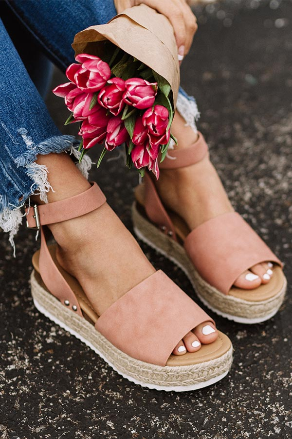 The Brighton Espadrille In Blush