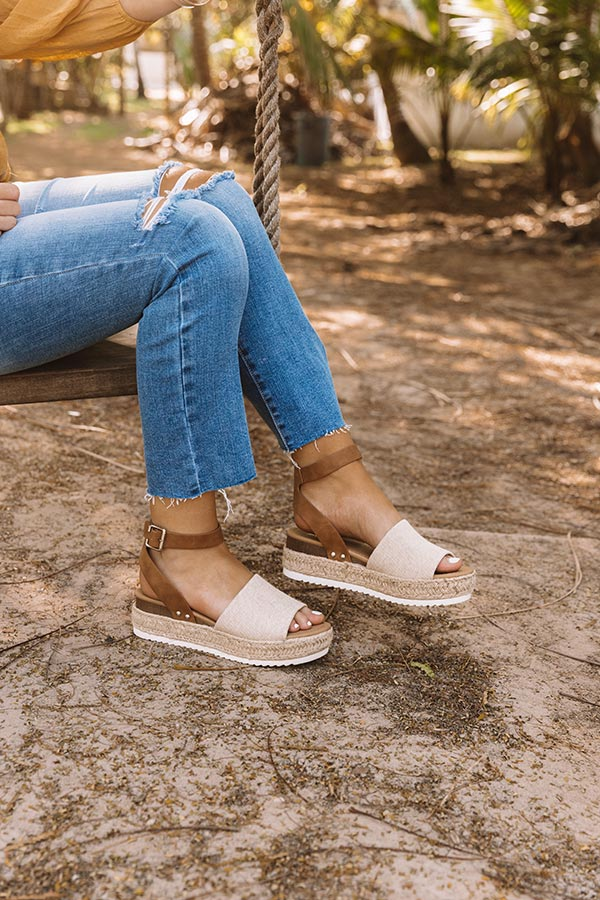 The Brighton Canvas Espadrille In Tan