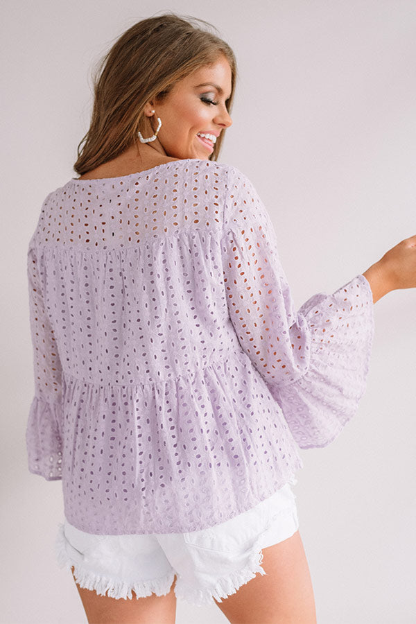 Everyday Charm Eyelet Top In Lavender