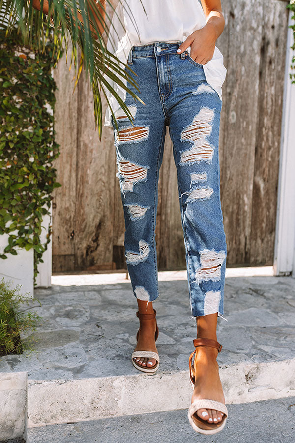 The Leslie High Waist Distressed Relaxed Skinny